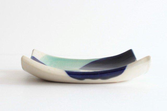 正角皿 海 陶器 土工房 陶糸 やちむん 画像3