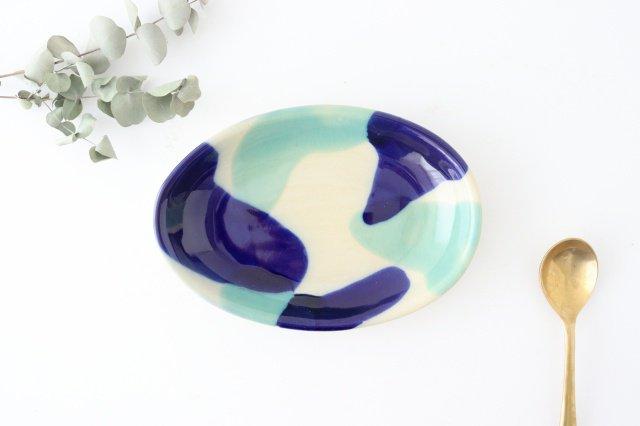 オーバル皿 海 陶器 土工房 陶糸 やちむん
