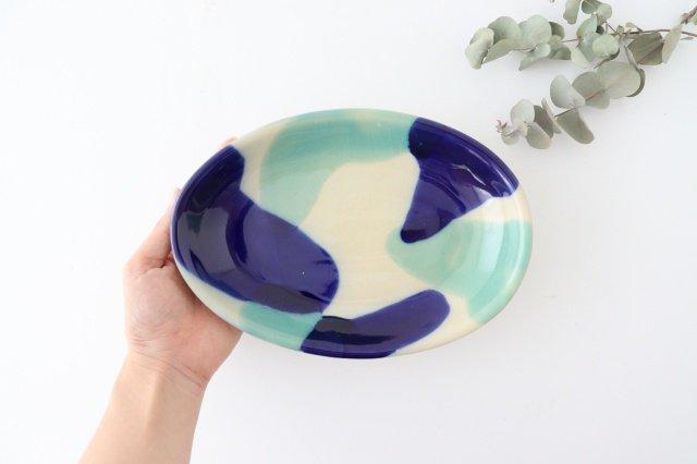 オーバル皿 海 陶器 土工房 陶糸 やちむん 画像2