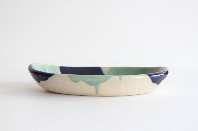 オーバル皿 海 陶器 土工房 陶糸 やちむん 画像3