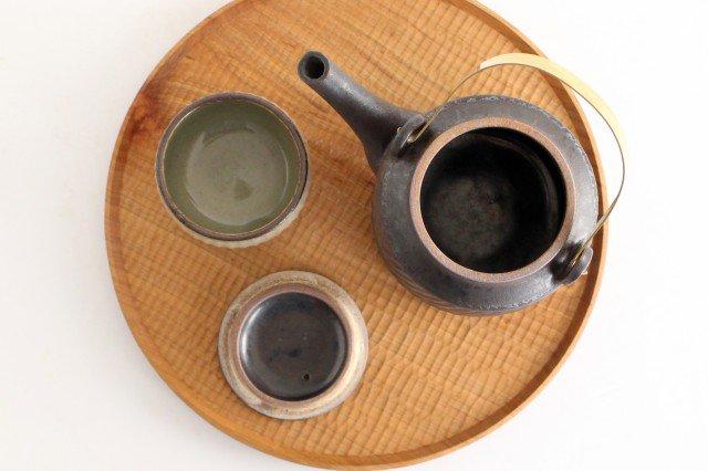 チューカー 大 しのぎ黒 陶器 ツチノヒ やちむん 画像2