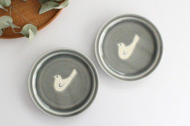 5寸皿 トリ1羽 グレー 半磁器 凸凸製作所 よぎみちこ やちむん 画像6