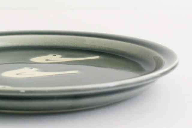 8寸皿 トリ3羽 グレー 半磁器 凸凸製作所 よぎみちこ やちむん 画像4