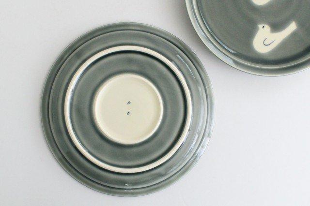 8寸皿 トリ3羽 グレー 半磁器 凸凸製作所 よぎみちこ やちむん 画像6