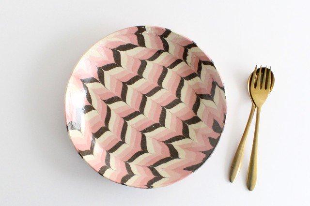丸皿 大 羽根 ピンク 陶器 陶芸工房ももねり。 草なぎ桃江
