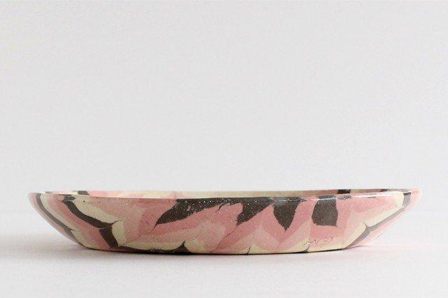 丸皿 大 羽根 ピンク 陶器 陶芸工房ももねり。 草なぎ桃江 画像2