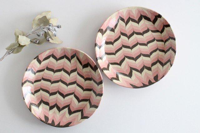 丸皿 大 羽根 ピンク 陶器 陶芸工房ももねり。 草なぎ桃江 画像3