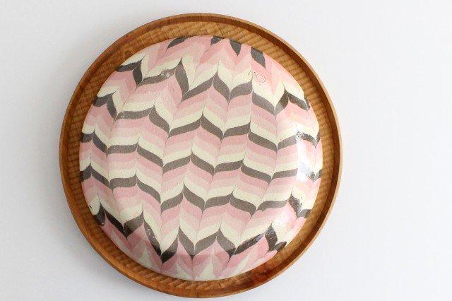 丸皿 大 羽根 ピンク 陶器 陶芸工房ももねり。 草なぎ桃江 画像4