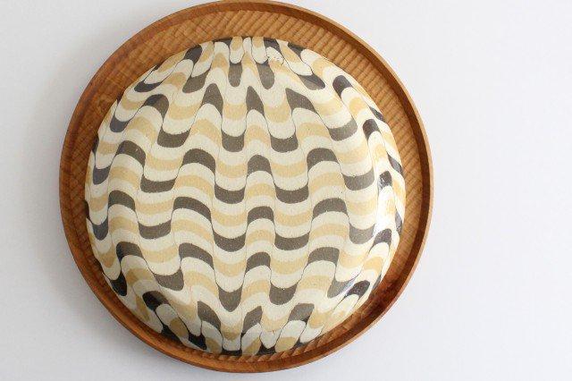 丸皿 大 波 黄色 陶器 陶芸工房ももねり。 草なぎ桃江 画像6
