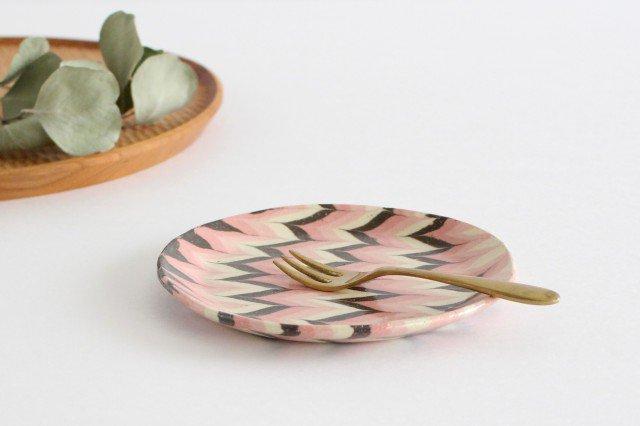 丸皿 中 羽根 ピンク 陶器 陶芸工房ももねり。 草なぎ桃江