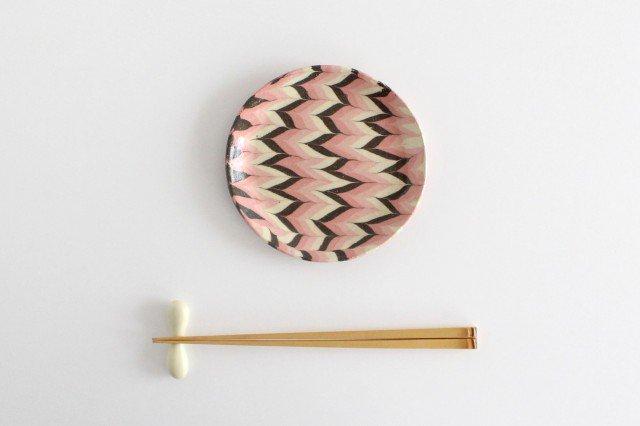 丸皿 中 羽根 ピンク 陶器 陶芸工房ももねり。 草なぎ桃江 画像2