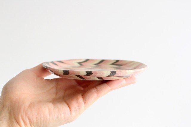丸皿 中 羽根 ピンク 陶器 陶芸工房ももねり。 草なぎ桃江 画像4