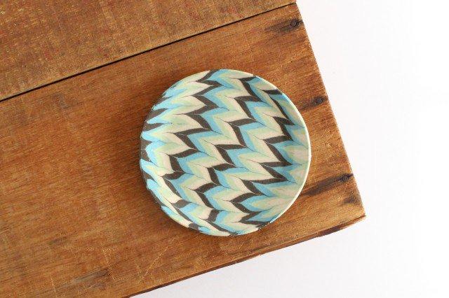 丸皿 中 羽根 水色 陶器 陶芸工房ももねり。 草なぎ桃江