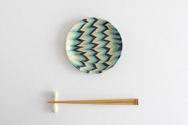 丸皿 中 羽根 水色 陶器 陶芸工房ももねり。 草なぎ桃江 画像4