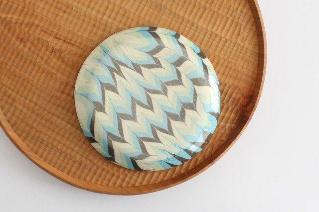 丸皿 中 羽根 水色 陶器 陶芸工房ももねり。 草なぎ桃江 画像6