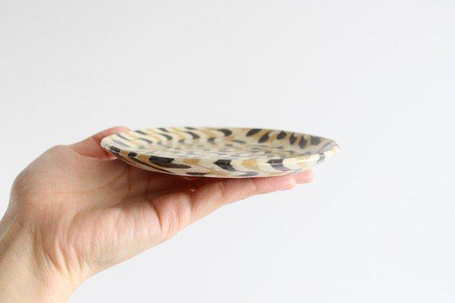 丸皿 中 波 黄色 陶器 陶芸工房ももねり。 草なぎ桃江 画像2