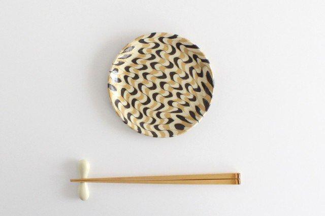丸皿 中 波 黄色 陶器 陶芸工房ももねり。 草なぎ桃江 画像3