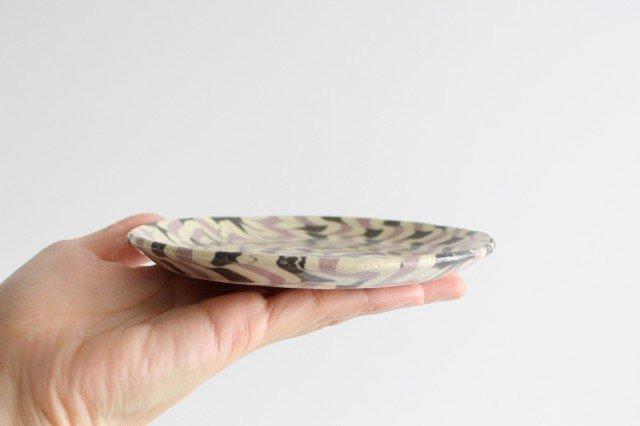 丸皿 中 波 パープル 陶器 陶芸工房ももねり。 草なぎ桃江 画像4