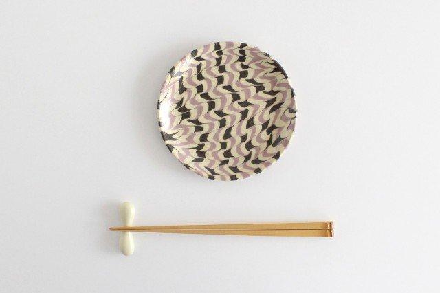 丸皿 中 波 パープル 陶器 陶芸工房ももねり。 草なぎ桃江 画像5
