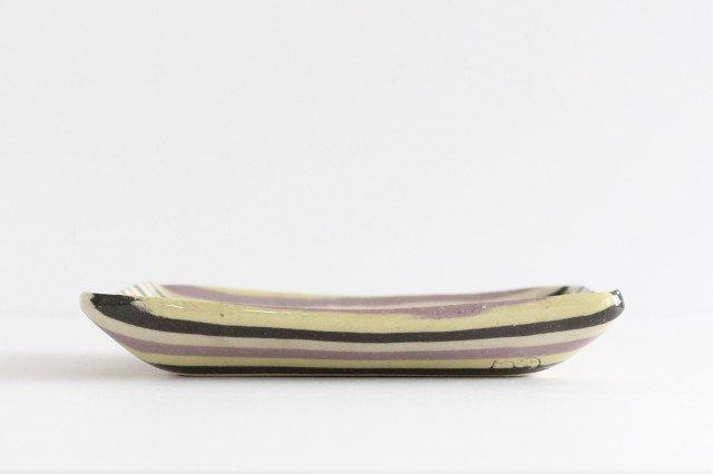 角皿 縞 パープル 陶器 陶芸工房ももねり。 草なぎ桃江 画像3
