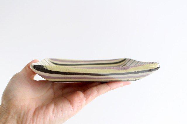 角皿 縞 パープル 陶器 陶芸工房ももねり。 草なぎ桃江 画像5