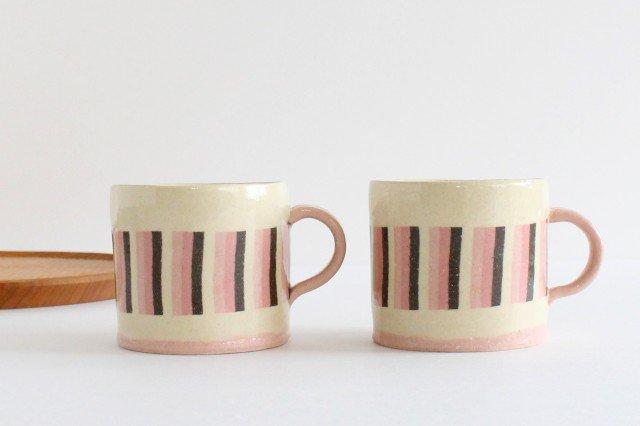 カップ&ソーサー 縞と市松 陶器 陶芸工房ももねり。 草なぎ桃江 画像2