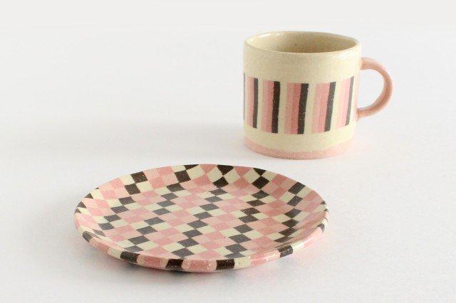 カップ&ソーサー 縞と市松 陶器 陶芸工房ももねり。 草なぎ桃江 画像4