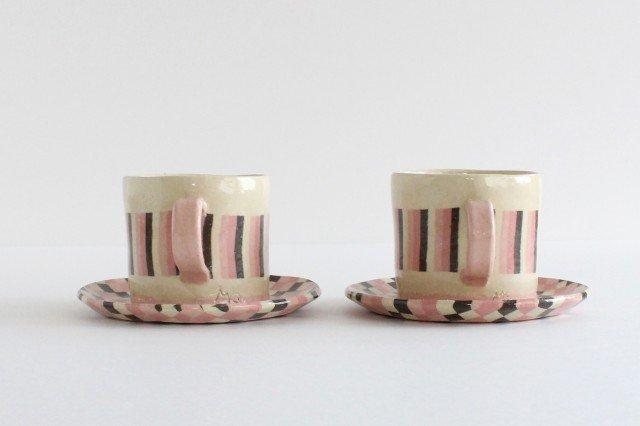 カップ&ソーサー 縞と市松 陶器 陶芸工房ももねり。 草なぎ桃江 画像5