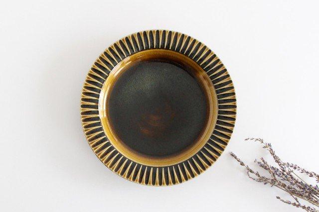 7寸リム皿 飴釉 陶器 はなクラフト