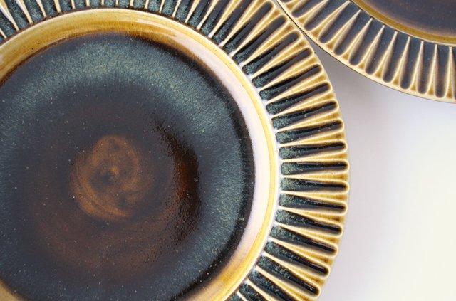 7寸リム皿 飴釉 陶器 はなクラフト 画像2