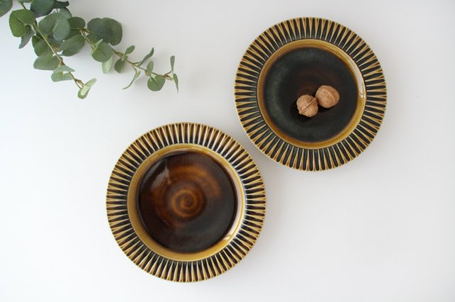 7寸リム皿 飴釉 陶器 はなクラフト 画像4