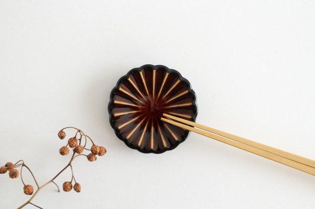 箸置き 漆(茶) 磁器 ぎやまん 美濃焼
