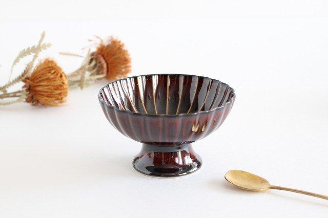 高台デザート 漆(茶) 磁器 ぎやまん 美濃焼
