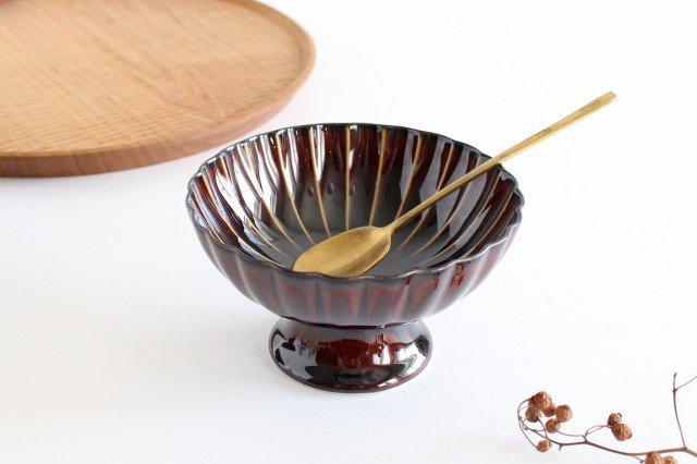 美濃焼 ぎやまん 高台デザート 漆(茶) 磁器 画像6