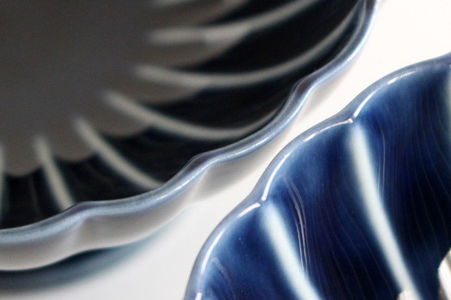 美濃焼 ぎやまん 高台デザート 茄子紺(青) 磁器 画像3