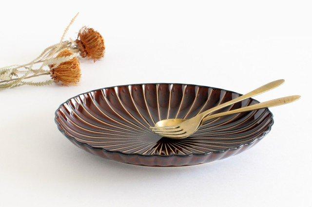 楕円大皿 漆(茶) 磁器 ぎやまん 美濃焼
