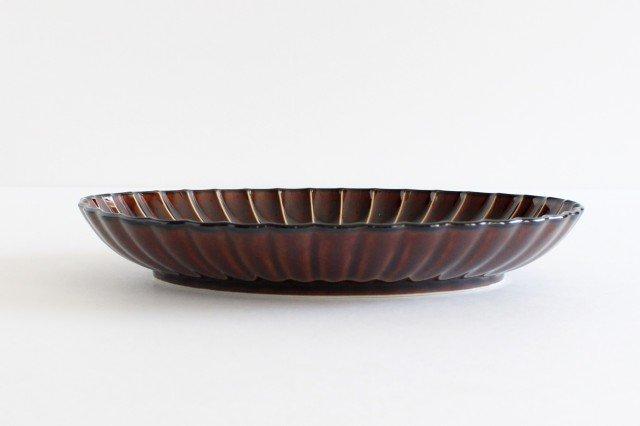 楕円大皿 漆(茶) 磁器 ぎやまん 美濃焼 画像2