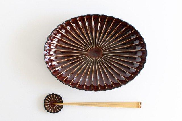 楕円大皿 漆(茶) 磁器 ぎやまん 美濃焼 画像4