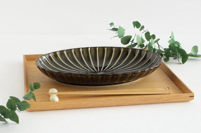 美濃焼 ぎやまん 楕円大皿 利休(緑) 磁器