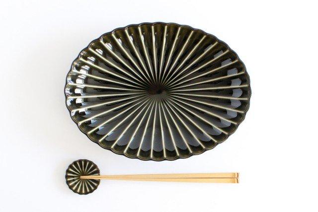 美濃焼 ぎやまん 楕円大皿 利休(緑) 磁器 画像2