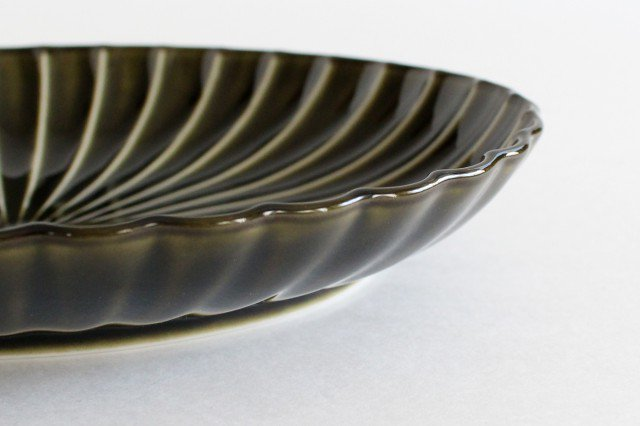 美濃焼 ぎやまん 楕円大皿 利休(緑) 磁器 画像5