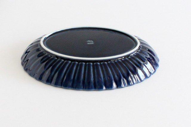 美濃焼 ぎやまん 楕円大皿 茄子紺(青) 磁器 画像4