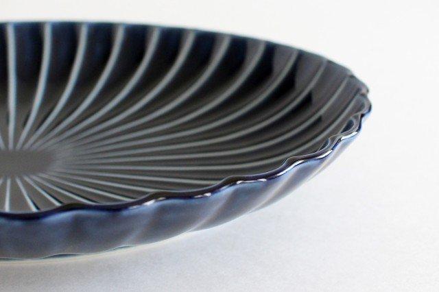美濃焼 ぎやまん 楕円大皿 茄子紺(青) 磁器 画像5