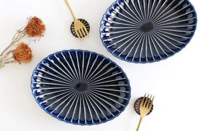 美濃焼 ぎやまん 楕円大皿 茄子紺(青) 磁器 画像6
