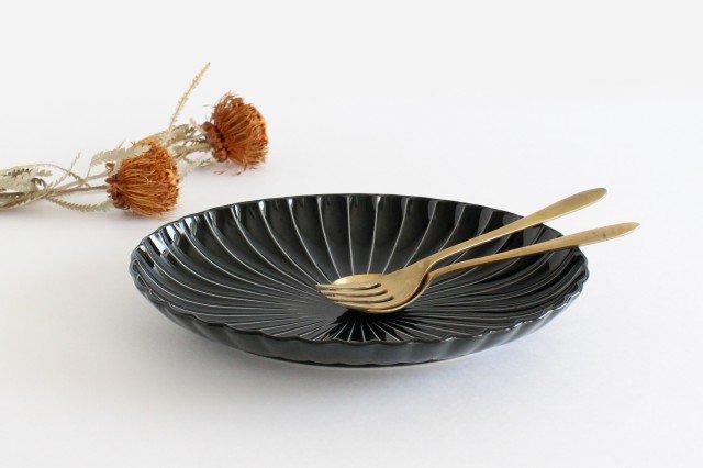 美濃焼 ぎやまん 楕円大皿 墨黒 磁器
