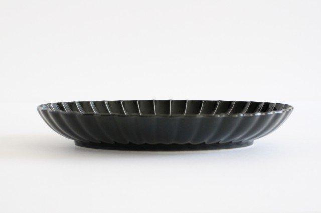 美濃焼 ぎやまん 楕円大皿 墨黒 磁器 画像2