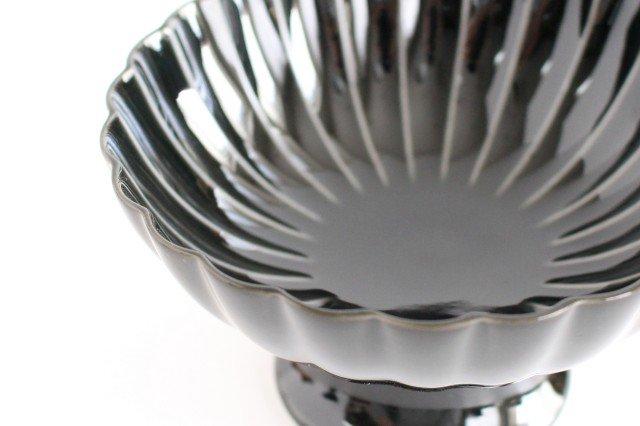 美濃焼 ぎやまん 高台デザート 墨黒 磁器 画像5