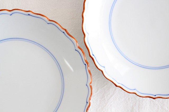 新桔梗5寸皿 渕錆 見込筋 青 磁器 波佐見焼 画像3