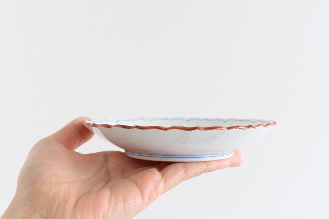新桔梗5寸皿 渕錆 見込筋 青 磁器 波佐見焼 画像5