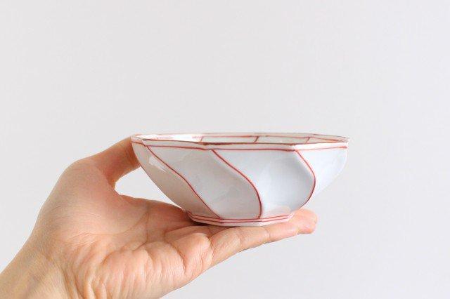 ねじり小鉢 ねじり線 赤 磁器 波佐見焼 画像3